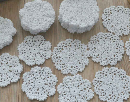 Lot 30 Crochet Small Doilies White Round Christmas Snowflake Wedding Ornaments
