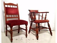 £50 for 4 SOLID WOOD USED PUB RESTAURANT CHAIRS, REFURBISHING, RE-UPHOLSTERY POSSIBLE