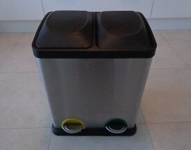 Stainless Steel Recycling Pedal Bin - 2 Compartment Waste Step Bin