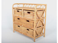 Chest of Drawers Bamboo Wicker Crates Trays EX DISPLAY *FREE LOCAL DELIVERY*