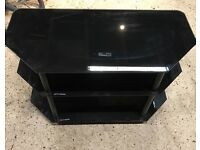 3 shelf black tempered glass tv stand