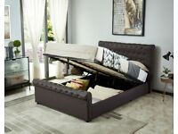 Milana King Size Leather Effect Ottoman Bed - Brown