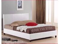 NEW WHITE FAUX LEATHER UPHOLSTERED BED FRAME IN SINGLE,SMALL DOUBLE,DOUBLE & KING SIZE