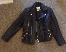 Black Leather Biker style Jacket £40 o.n.o