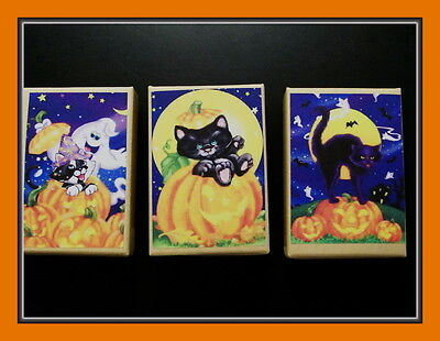 THREE VINTAGE POSTCARD GIFT BOXES FOR HALLOWEEN OF NOT SO SCARY KITTENS - Not So Scary Halloween Decorations