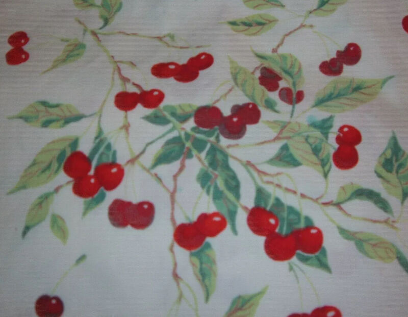 """VINTAGE TABLECLOTH RED CHERRIES 36"""""""