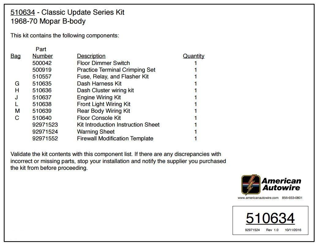 510634 american auto wire classic update dodge mopar b body wiring 510634 american auto wire classic update dodge mopar b body wiring harness kit 2 2 of 5