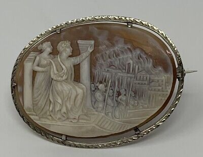 14k White Gold Cameo Brooch / Pin - Nero Plays Fiddle while Rome Burns ()