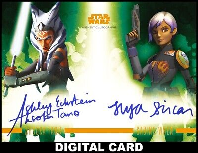 Topps Star Wars Card Trader STELLAR SIGNATURES ORANGE DUAL Ahsoka/Sabine Wren