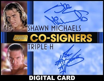 Topps SLAM WWE Triple H/Shawn Michaels BLUE CO-SIGNERS