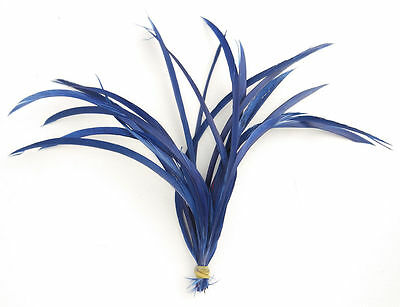 20 Navy Blue Loose Goose Biot Feathers length 15cm-19cm - crafts, millinery, etc