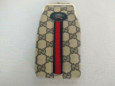 GUCCI GG Canvas Eyeglasses Case Vintage, red lining VERY RARE.