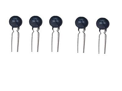 5pcs Ntc 5d-15 Thermistor Resistor In Rush Current Limiter 5 Ohms 15mm