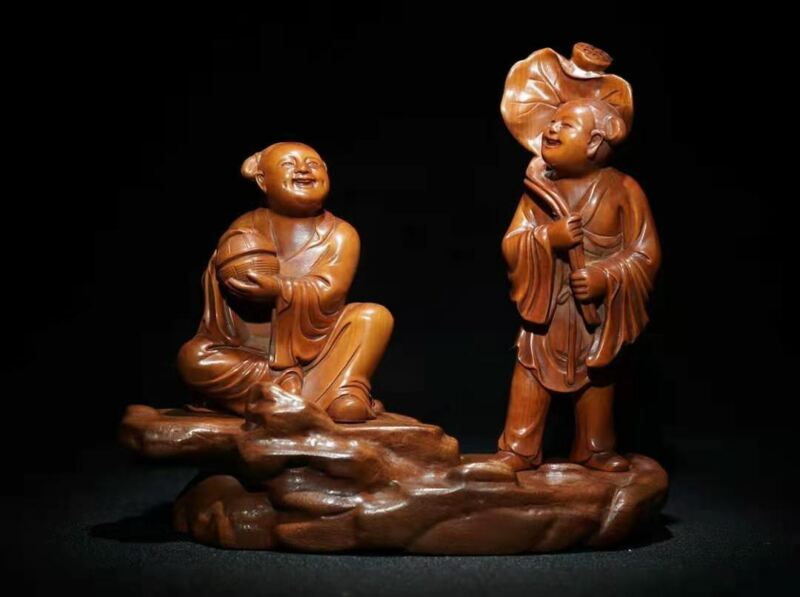 Chinese Natural Boxwood Hand carved Exquisite Two Immortals Statue  40010
