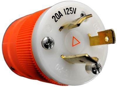 205pig Marinco 20a 125v 2p 3w L5-20p Isolated Ground Locking Plug - Orange
