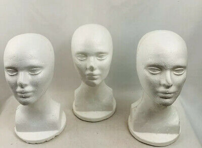 Wig Styrofoam Head Female Display White 3 Piece Set