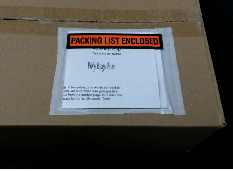 "100 Packing List Envelopes 4 1/2 x 5 1/2"" Enclosed Self-Adhesive Pouch Box Slips"