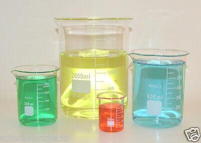 Beaker Set 50 250 600 2000ml Griffin Borosilicate Glass Beakers Lab New