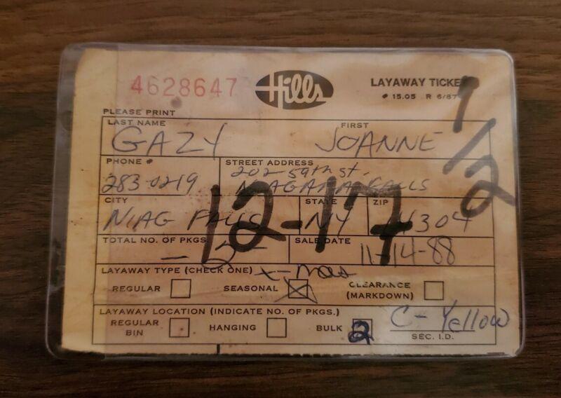 Vintage Rare Hills Department Store Layaway Ticket Defunct