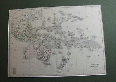 Australien und pazifische  Inseln um 1880.color. Stahlstich...