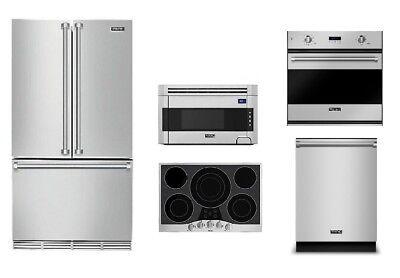 "Viking 30"" Electric Cooktop, 36"" Refrigerator, Oven, OTR Microwave & Dishwasher"