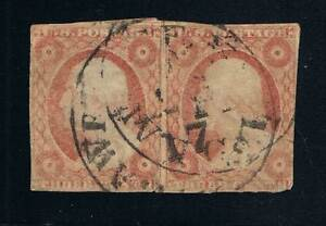 SCOTT #10a TYPE-II PAIR USED DOUBLE STRUCK CDS - PRICED TO SELL