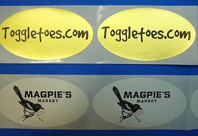 50000 Custom Printed Oval Labels 3 X 1-58 Black Ink On Gold Paper Material