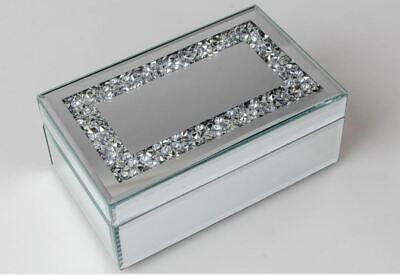 868268 Joyero 21 x 13cm Espejo Piedras De Cristal Trabajado