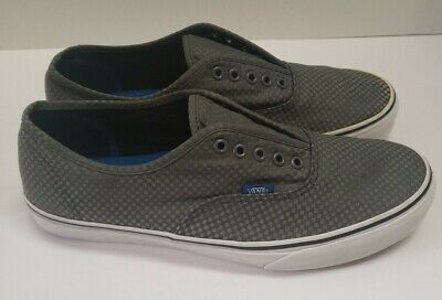 Vans Grey silver Checkered Canvas Lace Up Tennis Skate shoes mens size 12