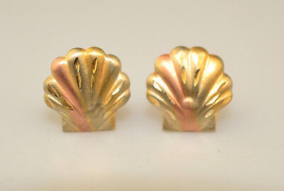 SMALL 14K YELLOW GOLD SCALLOP SHELL PIERCED POST EARRINGS SUBTLE TRICOLOR