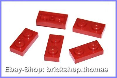 Lego 5 x Plate (1 x 2) Panel - 3023 Red - Red Plate - New / New