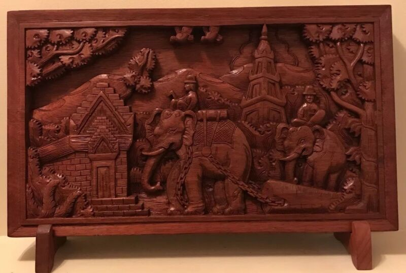 RARE ANTIQUE VINTAGE CARVED WOOD PANEL / PLAQUE LAOS HANDMADE HAND-CARVED