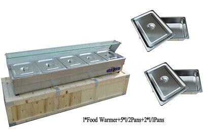 Intbuying Food Soup Warmer Stove Bain Marie With 5well Commercial Canteen Heater