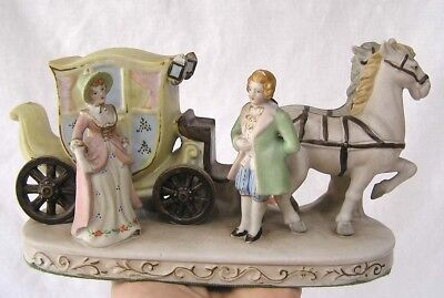 Vintage Occupied Japan Bisque Stagecoach and Passengers Figurine Signed Andrea