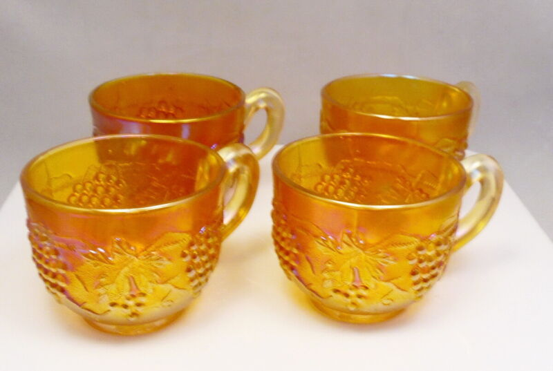 Vintage Set of 4 Marigold Grape Leaf Carnival Glass Coffee Cups ~ Free Shipping