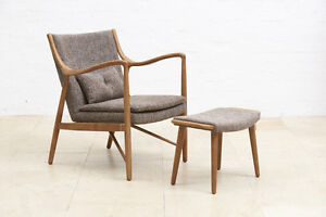 Juno Solid Ash Timber Retro Styled Chair and Footstool Set - Walnut and Brown