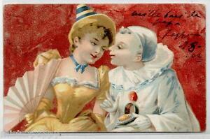 Pierrot-amp-Colombina-Ventaglio-PC-viaggiata-1902-ITALY-early-Chromo-Litho