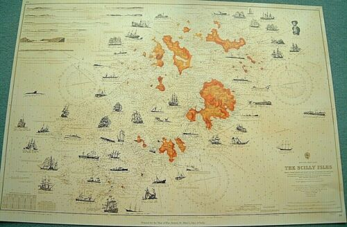 Large Isles Of Scilly SHIPWRECK map sowing positions of all Famous Wrecks etc