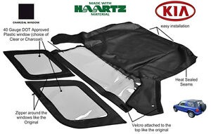 Fits: KIA SPORTAGE 1996-2002 Convertible Soft Top Replacement (Charcoal Window)