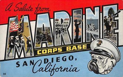 MARINE CORPS BASE San Diego, CA Large Letter Linen WWII c1940s Vintage Postcard