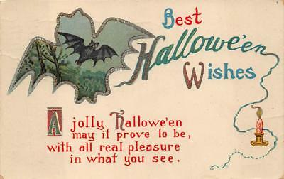 BAT SILHOUETTE FOREST CANDLE GEL COATED BEST HALLOWEEN WISHES POSTCARD 1916 - Halloween Bat Silhouette