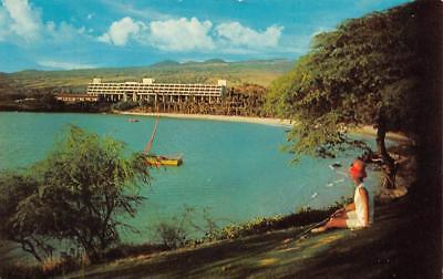 HI, Hawaii  MAUNA KEA BEACH HOTEL Woman Sitting~Golf Course ROADSIDE  (Mauna Kea Golf Course)