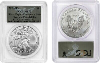 2020 P SILVER AMERICAN EAGLE $1 EMERGENCY ISSUE PCGS MS70 ULTRAVIOLET V15