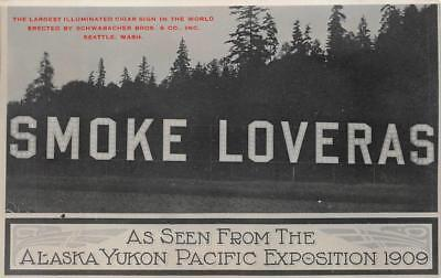 Alaska Yukon Pacific Exposition Smoke Loveras Cigar Sign Washington Postcard 09