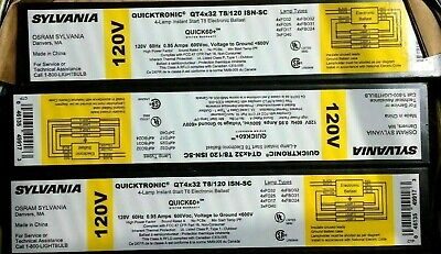 F32T8 Lamps 4 Sylvania Quicktronic QT 4x32//277 LP Fluorescent 277-Volt Ballast