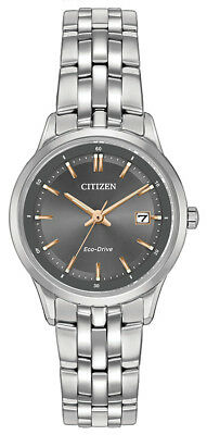 Citizen Eco Drive Women's Black Dial Silver Tone Bracelet 28mm Watch EW2400-58H