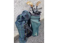 Golf clubs, 2 bags and balls