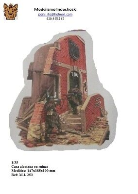WWII EDIFICIO ALEMÁN CON ESCALERAS en ruinas 1:35 building house facade