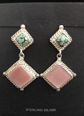 (Sterling & Spiderweb Turquoise, Pink Mother Of Pearl, Dangle Earrings  )