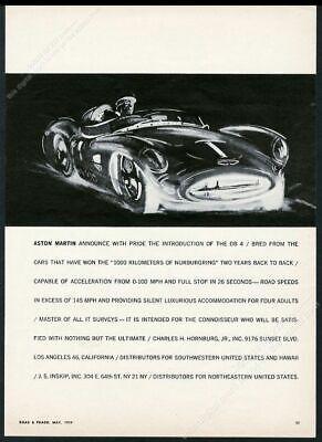 1959 Aston Martin race car illustrated vintage print ad